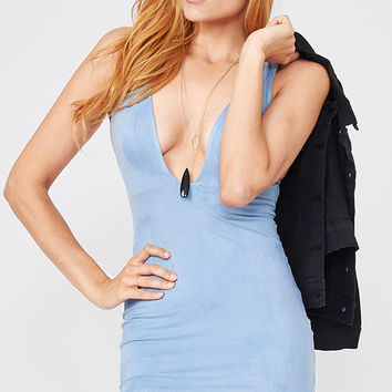 Suede V Neck Bodycon dress