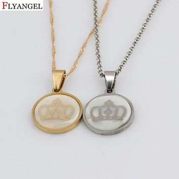 Time Gems Crown Pendant Stainless Steel Necklace King & Queen Crown Choker Necklace Jewelry for Women Men Bijoux