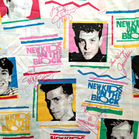 1990 New Kids On The Block Twin Sheet - Flat / Top Bedsheet or Curtain! - True Vintage - Authentic Fan Gear