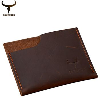COWATHER 100% Crazy horse genuine leather Card&ID holder newest style for men fashion put coin or crads wallet