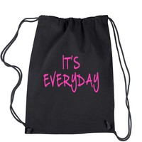(Pink Print) It's Everyday Drawstring Backpack