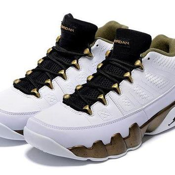 DCCKIJ2 Mens Air Jordan 9 Retro Leather Low 302370-109 Basketball Shoes White Brown