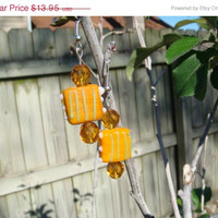ON SALE Hand Made Earrings Orange Hand Made Bead with Orange Crystals