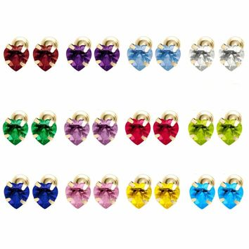 14K Yellow Gold Birthstone Heart Stud Earrings for Baby and Children Screw Back.