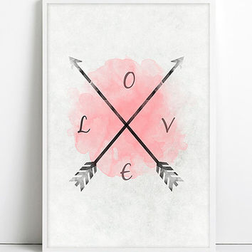 Arrow Black and White Watercolor Arrow LOVE Print Art Tribal Shabby Chic High Fashion Paris Rouge Home Decor Pink Wall Decor Fashion poster