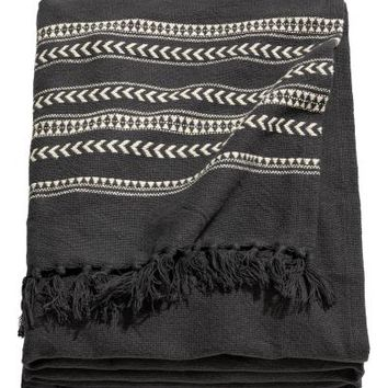 Jacquard-weave bedspread - Anthracite grey/Striped - Home All | H&M GB