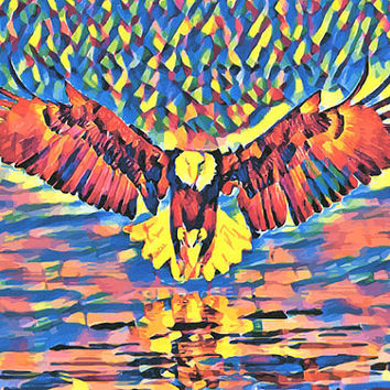 abstract Eagle Art Print animal art animal spirit art abstract art nature wildlife birds pop artwork