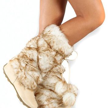 Beige Super Furry Pom Pom Fur Eskimo Mid-Calf Boot