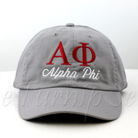Alpha Phi Sorority Baseball Cap - Custom Color Hat and Embroidery.