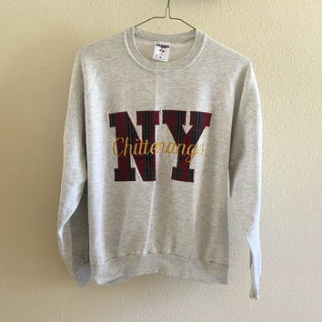 Chitternango NY Plaid Gray Sweatshirt 90s Vintage Oversized XL