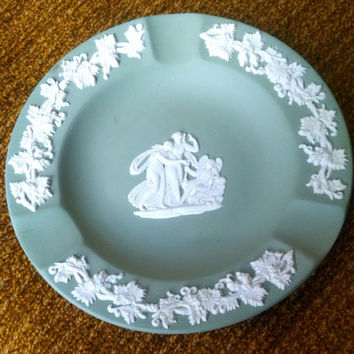 Vintage Wedgewood Jasperware Ashtray in Sage Green- Made in England