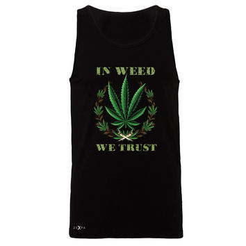 Zexpa Apparel™ In Weed We Trust Men's Jersey Tank Dope Cannabis Legalize It Sleeveless