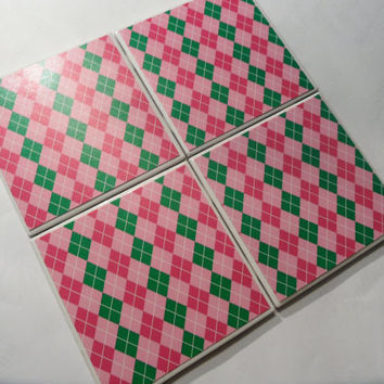 Pink and Green Preppy Plaid Ceramic Coasters set by myevilfriend