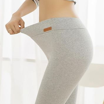 Plus Size Women Stretchy Leggings Female Elastic Band Thick Warm Long Solid Color Cotton Leggings For Autumn Winter High Waist