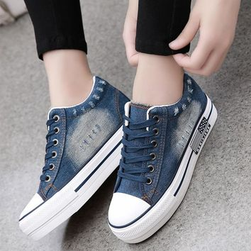 LAKESHI Women Fashion Casual Shoes New Denim sneakers 2018 Summer Canvas Shoes Lace-up Women Shoes Thickened Women Shoes