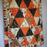 Halloween Lap Quilt Cheeky Wee Pumpkins Throw October Quilted Quiltsy Handmade FREE US SHIPPING