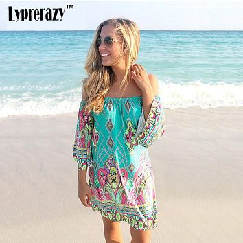 Lyprerazy 2017 Summer beach Dress Fashion Bohemian Boho Flower Print Off Shoulder Womens Casual Vintage Women Plus Size Dresses
