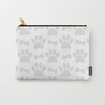 Paper Cut Dog Paws And Bones Pattern Carry-All Pouch by Cool Prints