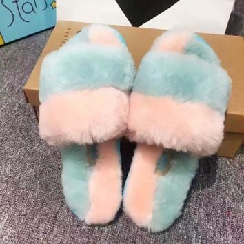 UGG fashion hot sale color velvet ladies casual word wool slippers
