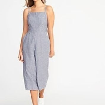 Sleeveless Striped Linen-Blend Jumpsuit for Women | Old Navy