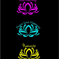 Lotus Flower Vinyl Decal car truck auto vehicle window laptop computer custom decal Boho Decal Good Vibes Namaste Peace Love Happiness