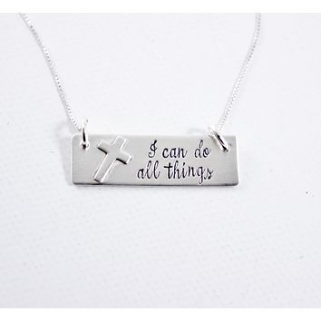 """""""I can do all things"""" Sterling Silver Necklace - Philippians 4:13"""