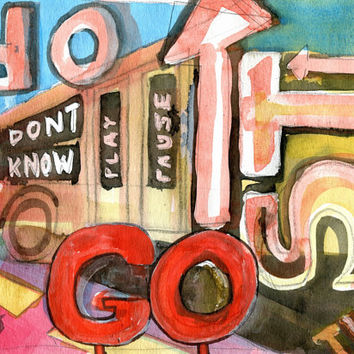 STOP GO DONTKNOW 4 - Original Watercolour - Fine Art Painting - Modern Art - Abstract Painting - Typography