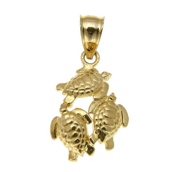 11MM SOLID 14K YELLOW GOLD HAWAIIAN SEA TURTLE HONU PENDENT