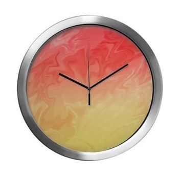 Pretty Orange Yellow Background Modern Wall Clock