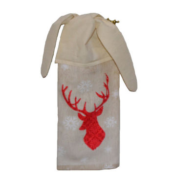 Deer Hand Towel Christmas Hand Towel Christmas Decor Kitchen Gift Holiday Decor Cooking Baker Tie on Towel Gift For her Snowflake Tea Towel