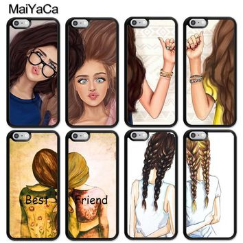 MaiYaCa Girls Brunette Blonde Best Friends BFF Matching Printed Mobile Phone Cases For iPhone 6 6S 7 8 Plus X 5 5S SE Back Cover