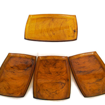 Mid Century Vintage Lucite Trays Plastic Tortoise Shell Dresser or Trinket Trays Set of Four