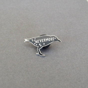 The Raven Enamel Pin - Edgar Allan Poe Enamel Pin Badge  - Gothic Literature Collection - Book Lover - Nevermore - Halloween Pin