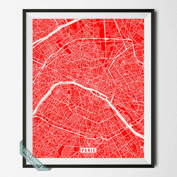 PARIS, FRANCE STREET MAP PRINT