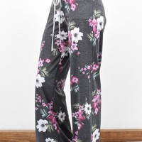 Soft + Comfy Floral Print Lounge Pants {Charcoal}