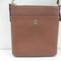 Auth COACH North South Swing Pack 52348 Brown Leather Shoulder Bag
