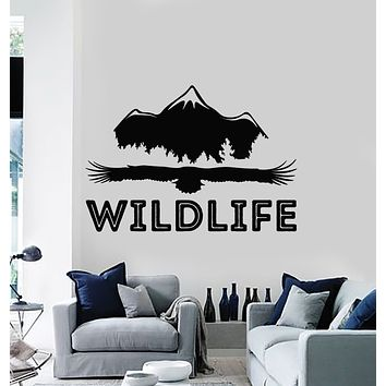 Vinyl Wall Decal Eagle Mountain Wildlife Words Freedom Nature Stickers Mural (g1371)