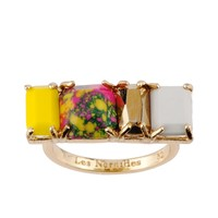 Les Néréides GEOMETRICAL FINERY YELLOW, PINK, GOLD AND GREY STONE RING