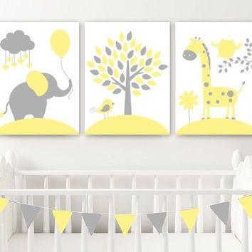 Yellow Gray Animal Nursery Wall Art, Canvas or Print Baby Girl Nursery Decor, Elephant Giraffe Tree, Jungle Safari Animals Artwork, Set of 3