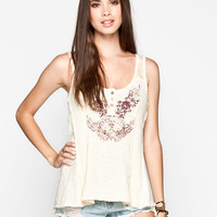 Others Follow Prevail Womens Lace Trim Tank Beige  In Sizes