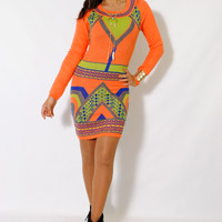(alx) Geometric print orange knit dress