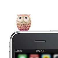 Amazon.com: Bling Bling Crystal Angry Owl iPhone Jack Anti Dust Plug Cover Stopper (Pink): Jewelry