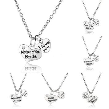 Bespmosp Women Men Jewelry I Love You Mother Father Sister OF Bride Groom Birthday Pendant Necklace Chain Gift Party Wedding Hot