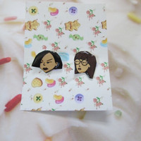 Daria and Jane Resin Head 90s Cartoon Novelty Gift Birthday Grunge Vintage Post Mtv Show Silver Plated Stud Earrings