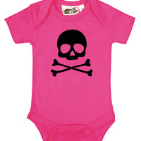 Skull & Crossbones Hot Pink & Black One Piece