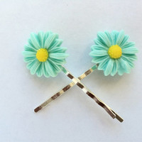 Blue Green Daisy Bobby Pins - Womens Hair Pins With Flower - Bobby Pins for Teen Girl - Daisy Hair Pins - Flower Hair Accessories -