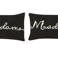 Madame & Madame (Hers and Hers) Throw Pillows - Black with Ivory Print (Set of 2)