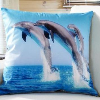 Dolphins Jumping Sparkling Ocean Water Forest Nature Decorative Pillows Euro Pillow Cover Emoji Home Decor Gift