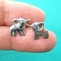 Elephant Shaped Animal Stud Earrings in Sterling Silver | DOTOLY