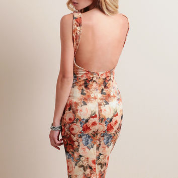 Forbidden Forest Floral Midi Dress